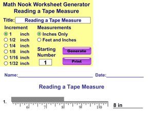 Read a Tape Measure Worksheet Generator pic